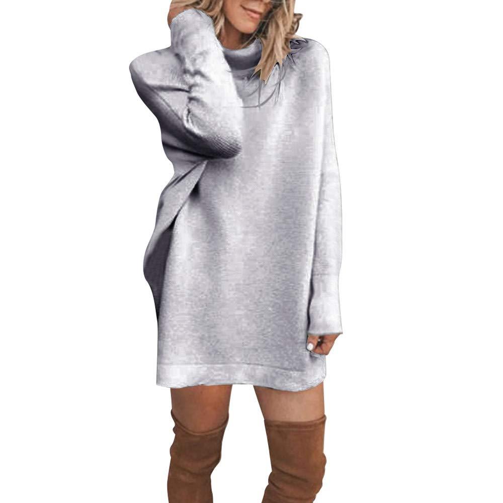 Mymyguoe Mujer Sué ter de Cuello Alto Bá sico, Vestido Largo, Suelto y Esponjoso, Pullover,Mini Vestido de Jersey Sué ter Suelto de Manga Larga para Mujer Invierno Fiesta