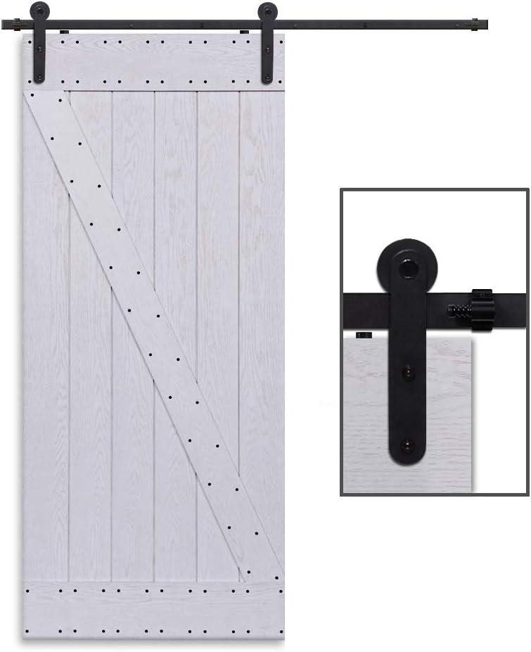 CCJH 6FT-183cm Retro Corredizo de Madera Granero Puerta Hardware Kit Armario Corredizo de la Riel Colgadores de Rueda para una sola Puerta Round Shaped