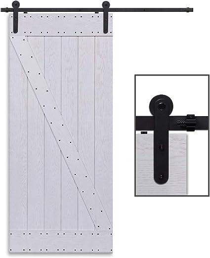 CCJH 4FT-122cm Herraje para Puerta Corredera Kit de Accesorios para Puertas Correderas Rueda Riel Juego para Una Puerta de Madera: Amazon.es: Bricolaje y herramientas