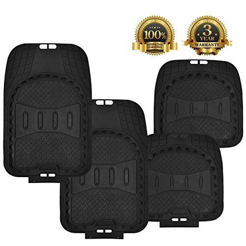 Floor Mats for Cars 4PC Set Floor&Rear Rubber Mats Black All Weather Floor Mat Waterproof Heavy Duty