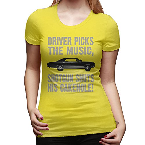 Price comparison product image SAXON13 Women's Supernatural Driver Picks The Music Unique Tshirts Yellow Size M