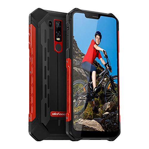 Waterproof Rugged Phones Unlocked, Ulefone Armor 6E Rugged Cell Phones Unlocked 4G LTE Dual Sim 4G 6.2″ FHD 4GB+64GB,5000Mah Battery, Android 9.0 Helio P70,US Plug, NFC+ Face ID+ UV Senso+GPS Red