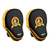 Tera WOLON 1Pair of PU Leather Punching Kicking Palm Pad Target Mitts Gloves Yellow for Focus Training of Karate MuayThai Kick Boxing UFC MMA