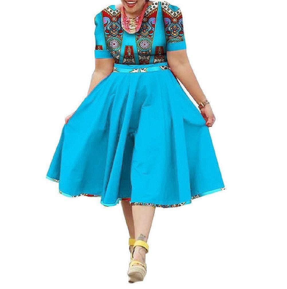 10 Mfasica Women Plus Size Midi Floral African Print MidLong Swing Dresses
