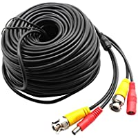 98Ft. Black, Pre-made All-in-one BNC Video and Power Cable Wire with Connector DC 2.1mm for CCTV Surveillance Security Camera