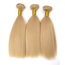 "Double Drawn 12"" 321g/3Bundles Yaki Hair Weft for Black Women 7A+ 100% Real Natural Brazilian Virgin Remy Human Hair Weave Extensions Full Head Short Bobs Light Ash Blonde(#24)"