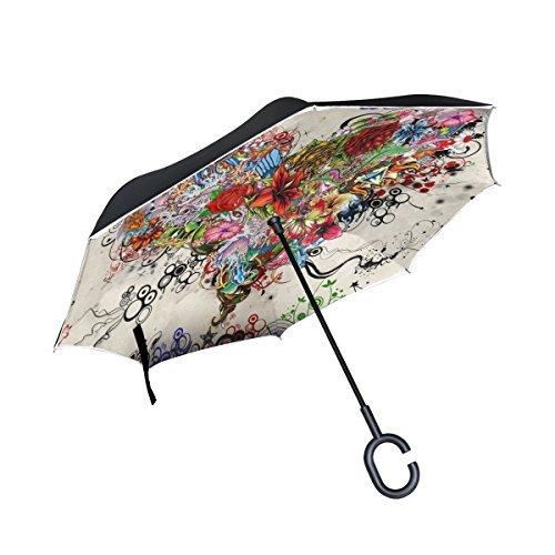 OREZI Large Inverted Umbrella Reverse Folding Umbrella for Car and Rain Outdoor C-shape Handle Self-standing Umbrella Colorful Flower Heart Umbrella for Girl and Women -