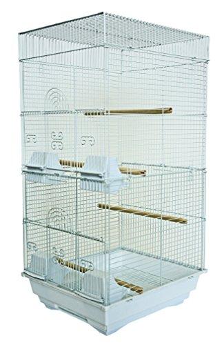 YML A6624 Bar Spacing Tall Square 4 Perchs Bird Cage, 14 x 16, White