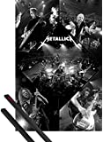 Poster + Sospensione : Metallica Poster Stampa (91x61 cm) Live In Concert E Coppia Di Barre Porta Poster Nere 1art1®