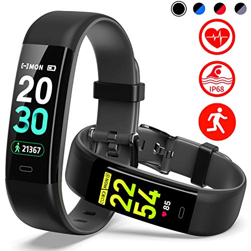 Mgaolo Fitness Tracker HR,Activity Tracker IP68 Waterproof Smart Watch Fit Wristband with Heart Rate Blood Pressure Sleep Monitor Pedometer Calorie Step Counter for Android and iPhone  (Black) (Sleep And Step Tracker)