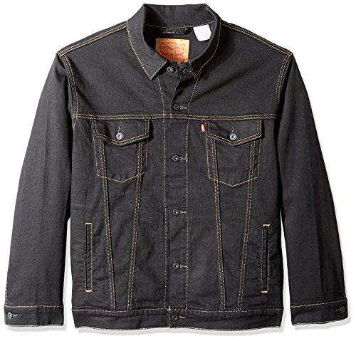 Black Denim Stretch Jacket - Levi's Men's Big and Tall Trucker Jacket, Lamar-Stretch, 2XL