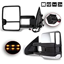 SCITOO [Updated Style] Chrome Towing Mirrors for 2014-2017 Chevy Silverado GMC Sierra 1500 Power Heated LED Signal Clearance Lamps Side Pair