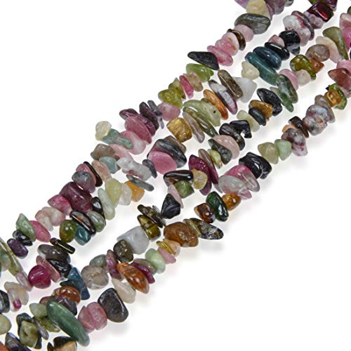 - Top Quality Natural Multi Colors Tourmaline Gemstone Smooth Gem Chips 5-8mm Loose Stone Beads 34 Inch for Jewelry Craft Making GZ1-11