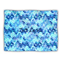 Kess InHouse Ebi Emporium 'C'est La Vie Revisited' Blue Aqua Dog Blanket, 40 by 30-Inch