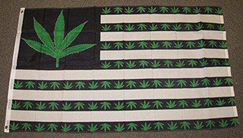 Marijuana Usa Flag 3'X5' Green Weed Pot Leaf Bud Hash Mary J