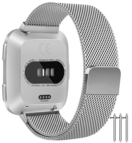 - Fintie Bands for Fitbit Versa/Versa Lite Edition - Stainless Steel Metal Replacement Strap Bracelet with Magnet Lock, Silver