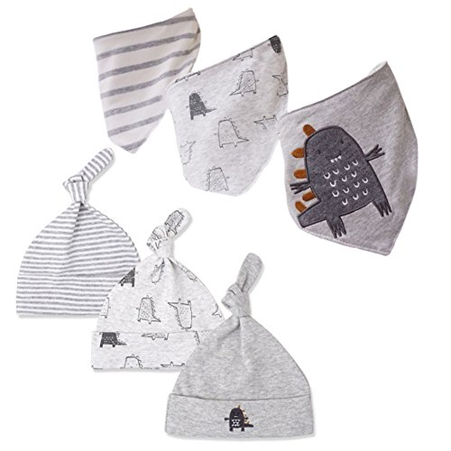 CuteOn Unisex 6-Pack Gift Set for Drooling and Teething - 100% Cotton - Newborn Baby Bandana Drool Bibs with Matching Beanie Caps