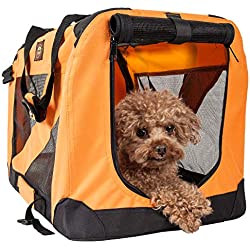 PET LIFE '360° Vista View' Zippered Soft Folding Collapsible Durable Metal Framed Pet Dog Crate House Carrier, Large, Orange