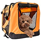 PET LIFE '360° Vista View' Zippered Soft Folding Collapsible Durable Metal Framed Pet Dog Crate House Carrier, X-Large, Orange