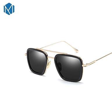 Amazon.com: MISM - Gafas de sol cuadradas con espejo para ...