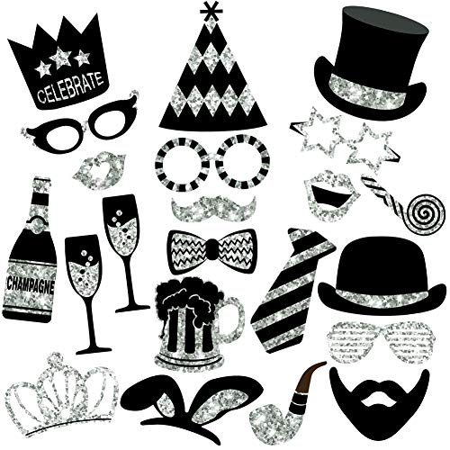 Silver Photo Booth Props (No Glitter) - Mix of Hats, Lips, Mustaches, Crowns and More (22 pcs) - Durable and Vibrant - Perfect for Birthday Parties, Weddings and More]()