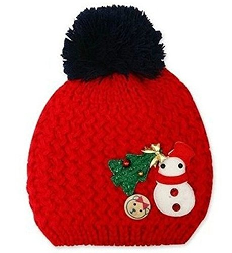 Dealzip Inc® Cute Unisex Kids Children Toddler Red Acrylon Christmas Tree & Snowman Pattern Woven Knit Crochet Warm Winter Hat Cap Beret Beanie Christmas Tree Crochet Hat Pattern