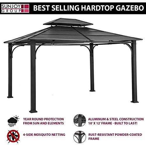 Sunjoy 10 x 12 Chatham Steel Hardtop Gazebo Dimensions