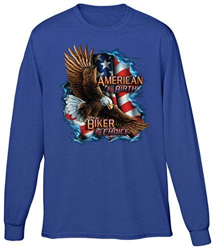 Blittzen Mens Long Sleeve T-Shirt American Biker by Choice, 2XL, Royal Blue
