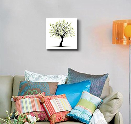 Abstract Green Tree Painting in Clean and Simple Style Wall Decor