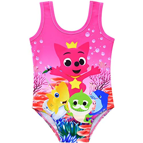 (Crazy Gotend Girls Baby Shark One-Piece Swimsuit Beach Bathing Suit Bubble Rose 4-5Y)