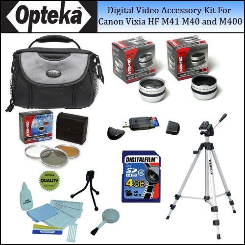 Opteka Digital Video Accessory Kit for the Canon Vixia HF M41, HF M40 And HF M400 43mm Digital Camcorders by Opteka