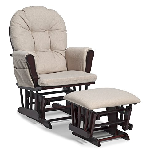 er and Ottoman Set Cherry/Beige, Glider/Ottoman Set with Side Pockets, Soft Polyester Upholstery for Durability and Comfort, Ideal for Feeding or Rocking Baby ()
