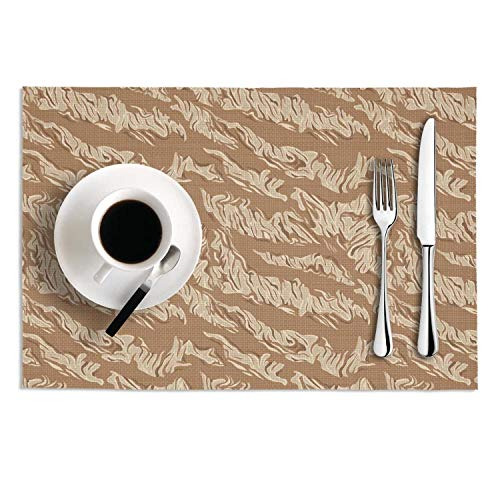 Quinnteens Washable Table Mats Tan Army Leopard Print Non-Slip Insulation Placemat (2pcs Placemats,12x18 Inch)