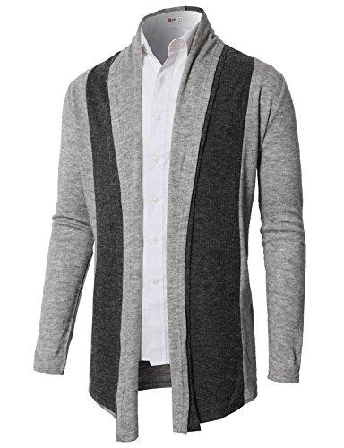 H2H Men Classic Notched Lapel Blazer Cardigan Sweater Khaki US M/Asia L (CMOCAL020) by H2H (Image #1)