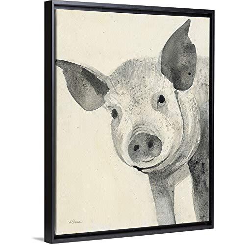 Oink Black Floating Frame Canvas Art, 14