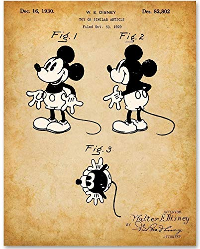 Mickey Mouse Prints - Mickey Mouse Drawing - 11x14 Unframed Patent Print - Great Gift for Disney Fans