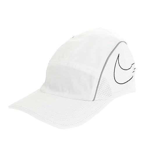 9078202fb Amazon.com: Nike AeroBill Running Cap, White/White/Black, One Size ...