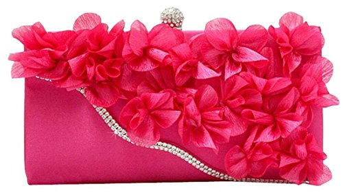 Blueblue Sky Chic Floral Chiffon Chain Evening Party Frame Clutch Miaudiere Handbag153 (Hot Pink)