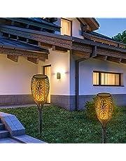 Solcellslampor utomhus, solcellslampa ficklampa, solcellslampa med flimrande flamma, flameffekt solcellslampor för trädgård uteplats dekor uppfart (2 st)