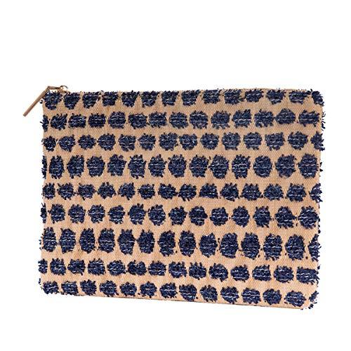 Straw Clutch Purses Handbag Women Casual Evening Envelope Bag Wallet with Pocket Natural Summer Beach Bag Pompoms Accents(Denim)