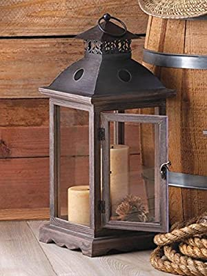 Candle Lantern Large 18 Inch Floor Tabletop Rustic Wood Frame