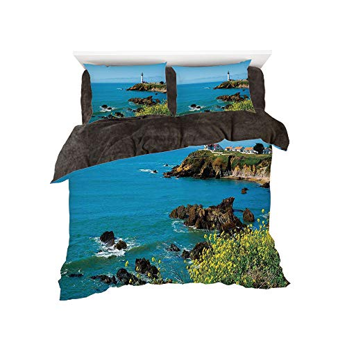 All Season Flannel Bedding Duvet Covers Sets for Girl Boy Kids 4-Piece Full for bed width 4ft Pattern by,Lighthouse Decor,Pigeon Point Lighthouse in California Romantic Shoreline Waves Wildflowers Hor