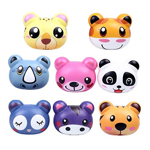 Livoty Squishy Cartoon Animals [4/8PCs] Multicolor Kawaii Soft Slow Rising Scented Fruit Super Soft Stress Relief Kid Toys Gift Decoration Props - Lot (Multicolor [8PCS])