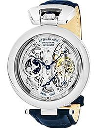 Stuhrling Original Men's 127A.3315C2 Emperor's Grandeur Dual Time Automatic Skeleton Dial Watch Silver