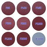 Cheap Hook&Loop Sanding Discs Paper, WHOSEE 180-Pack 3″ Orbital Sander Pad 20pcs Each 80 100 180 600 800 1000 1200 2000 3000 Grit