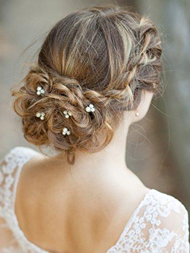 Missgrace 6PCS Bridal Silver Crystal Rhinestones Hair Pins - Wedding Hair Accessories