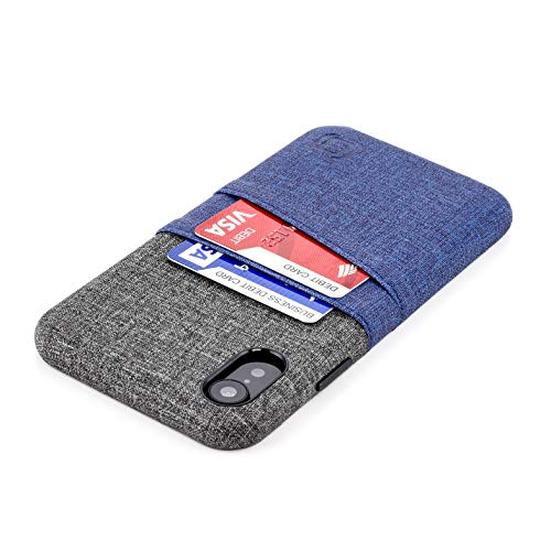 Dockem Luxe M2 Wallet Case for iPhone XR; Built-in Invisible Metal Plate, Designed for Magnetic Mounting; Slim Canvas Style Synthetic Leather Card Case; M-Series [Navy and Grey]