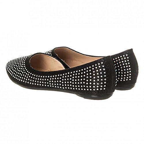 Black Sides Ladies Shoe Flat With And Stones Cut Womens Ballerina Coloured Out a1PO0Rxqw