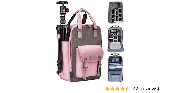 Professional Fashion Multifunction DSLR SLR Camera Bag Travel Outdoor Tablet Laptop Bag Waterproof Durable Camera Backpack for Sony Canon Nikon Olympus SLR//DSLR Cameras,Lens and Accessories Rose red