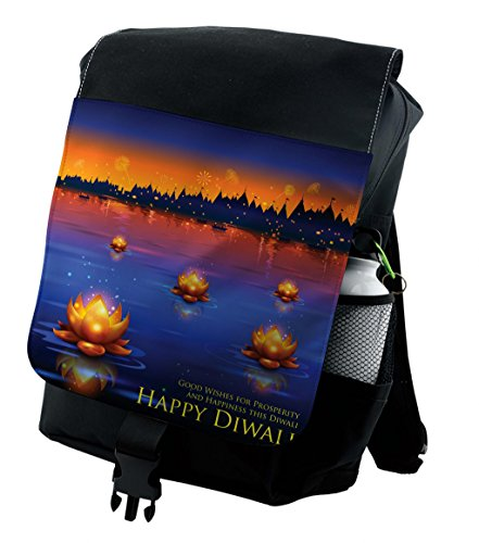 Lunarable Diwali Backpack, Prosperity and Well Wishes, Durable All-Purpose Bag by Lunarable